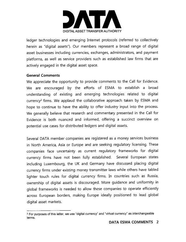 Digital Asset Transfer Authority - ESMA Virtual Currency Response 2015 Slide 2