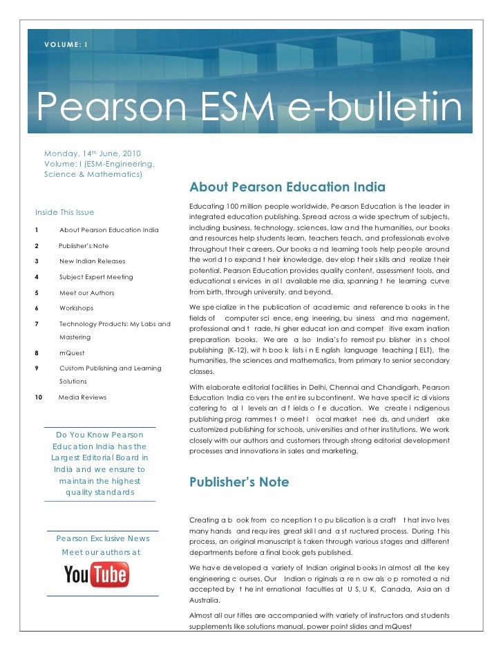 VOLUME: I     Pearson ESM e-bulletin      Monday, 14th June, 2010      Volume: I (ESM-Engineering,      Science & Mathemat...