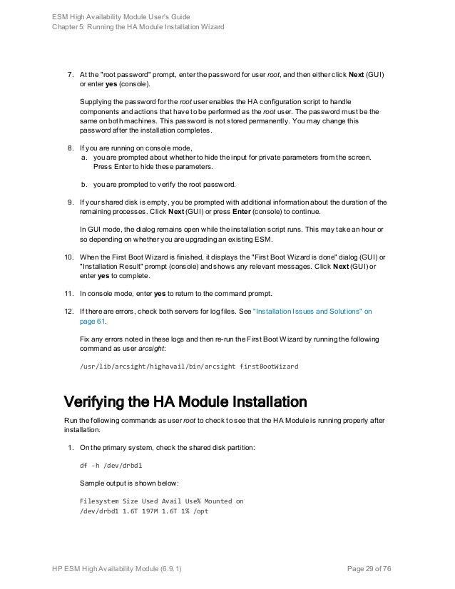 ESM High Availability Module User's Guide v6 9 1
