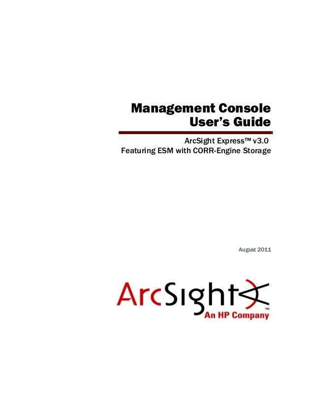 Management Console User's Guide for ESM + CORR-Engine