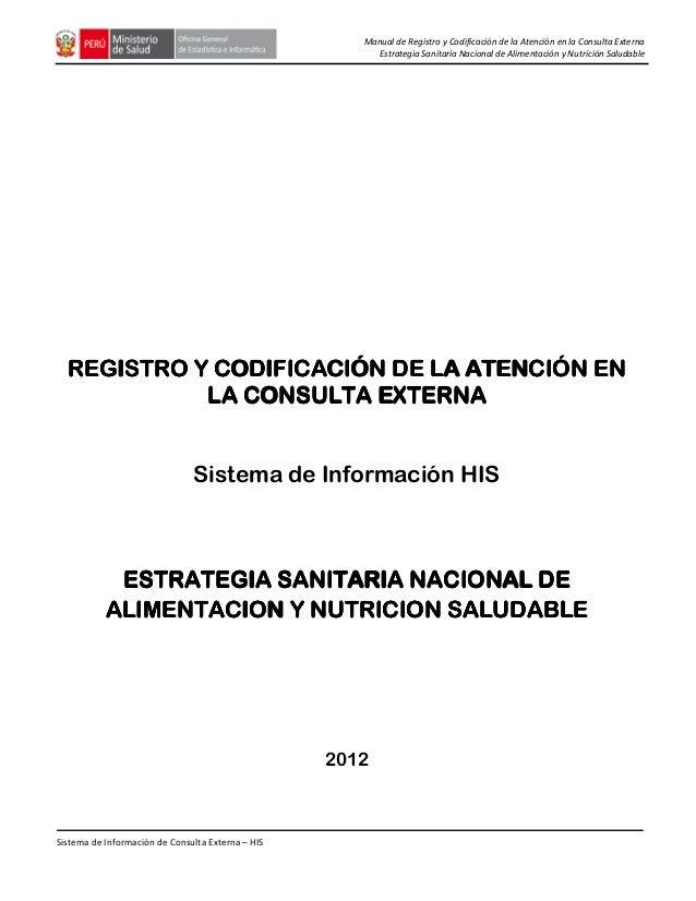 Manual de Registro y Codificación de la Atención en la Consulta Externa Estrategia Sanitaria Nacional de Alimentación y Nu...