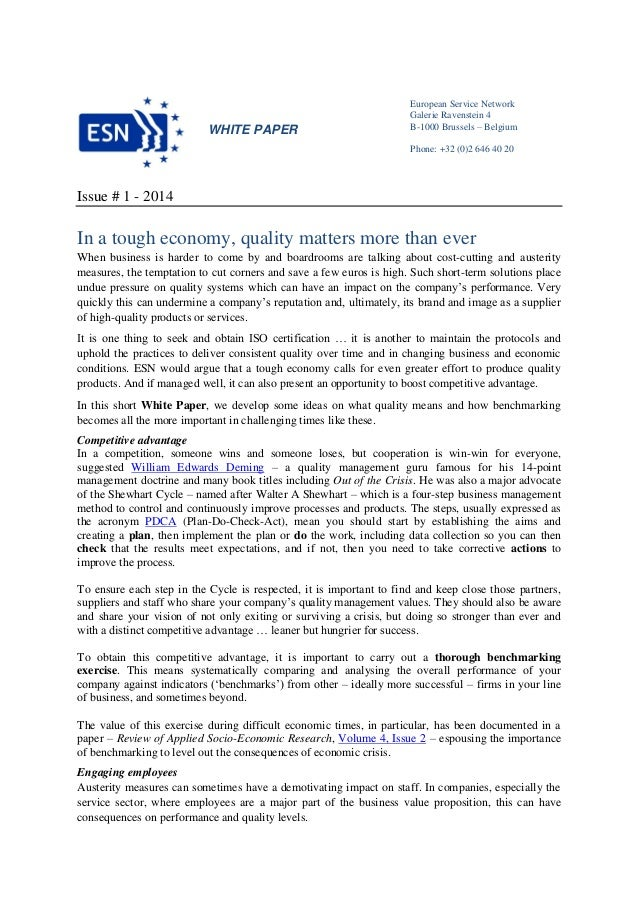 Esn White Paper In A Tough Economy Quality Matters More Than Ever