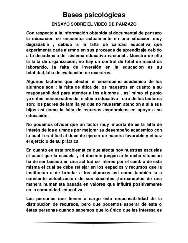 Bases psicológicas            ENSAYO SOBRE EL VIDEO DE PANZAZOCon respecto a la información obtenida al documental de panz...