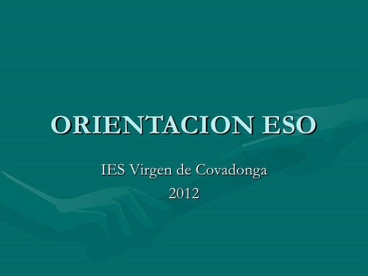 ORIENTACION ESO  IES Virgen de Covadonga            2012