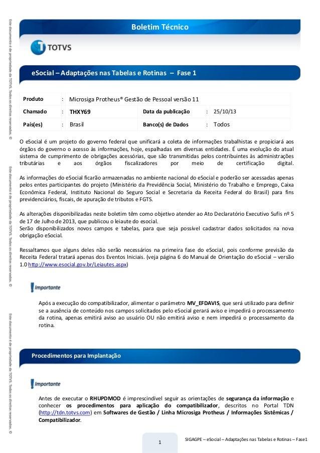 1 Boletim Técnico SIGAGPE – eSocial – Adaptações nas Tabelas e Rotinas – Fase1 Produto : Microsiga Protheus® Gestão de Pes...