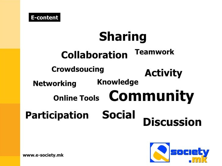 www.e-society.mk Sharing Collaboration  Knowledge  Participation  Crowdsoucing  Discussion  Activity  Teamwork  Networking...