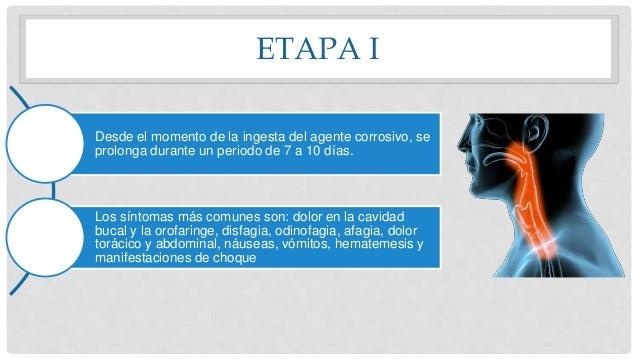 ETAPA I Desde el momento de la ingesta del agente corrosivo, se prolonga durante un periodo de 7 a 10 días. Los síntomas m...