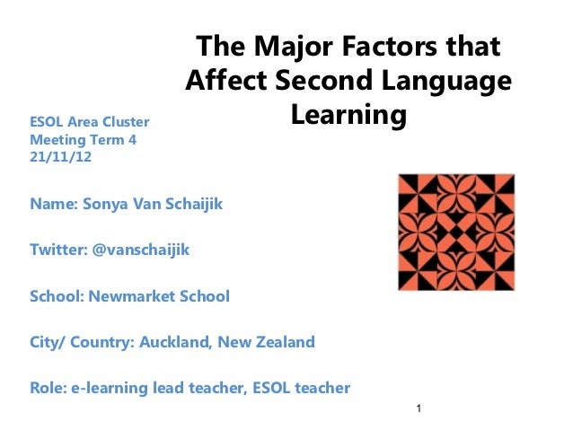 The Major Factors that                    Affect Second LanguageESOL Area Cluster           LearningMeeting Term 421/11/12...