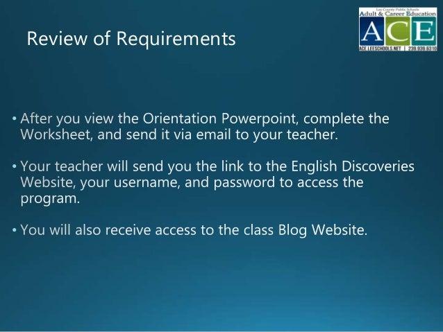Esol Online Orientation Powerpoint