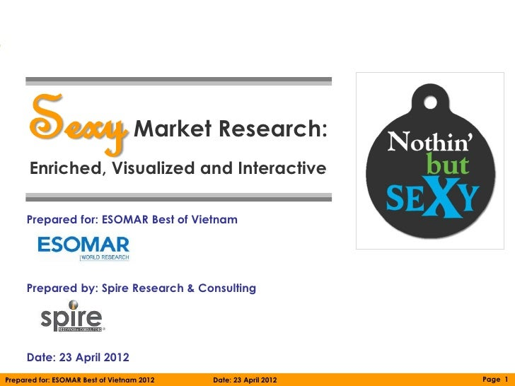 Sexy                         Market Research:      Enriched, Visualized and Interactive     Prepared for: ESOMAR Best of V...