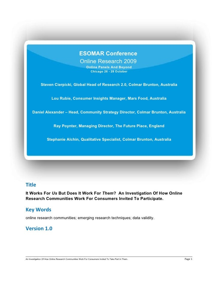 ESOMAR Conference                                                     Online Research 2009                                ...