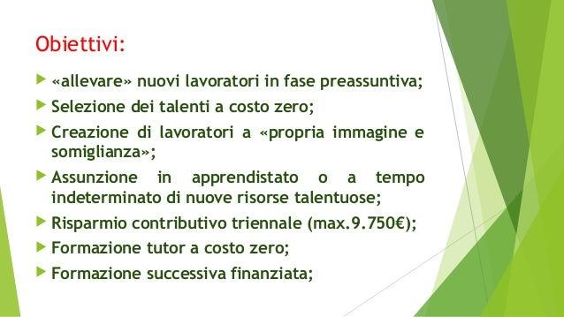 Obiettivi:  «allevare» nuovi lavoratori in fase preassuntiva;  Selezione dei talenti a costo zero;  Creazione di lavora...