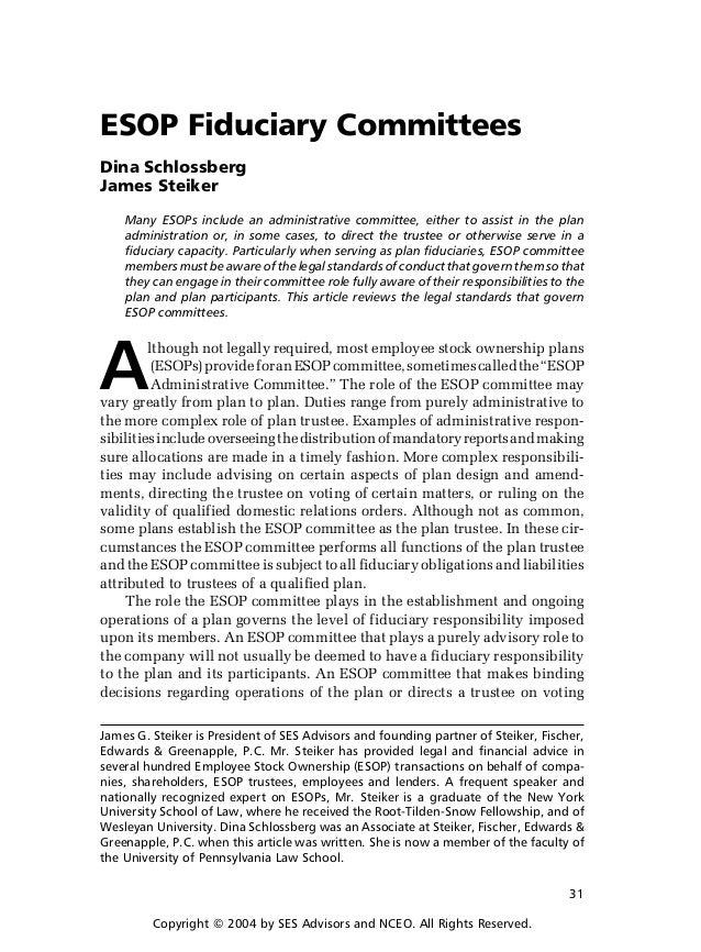 ESOP Fiduciary Mittees