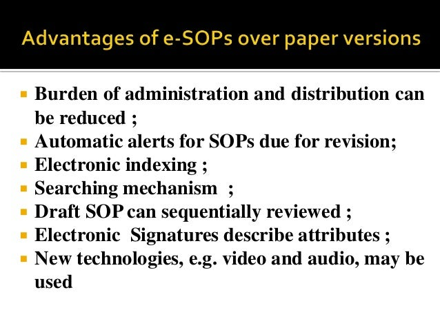 ... May Be Used; 3.  Electronic SOPs Prepared ...