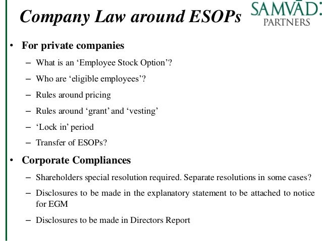 Employee stock options private company