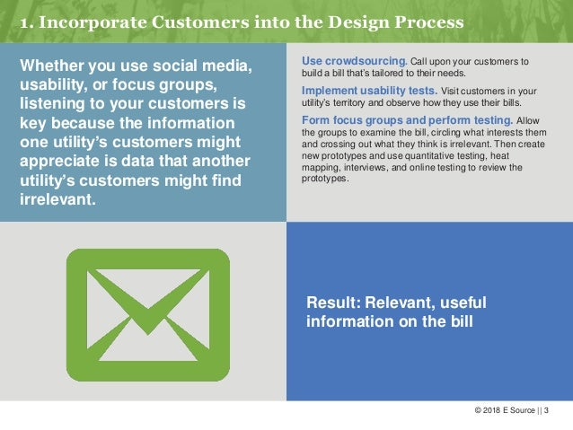 © 2018 E Source    3 1. Incorporate Customers into the Design Process Whether you use social media, usability, or focus gr...