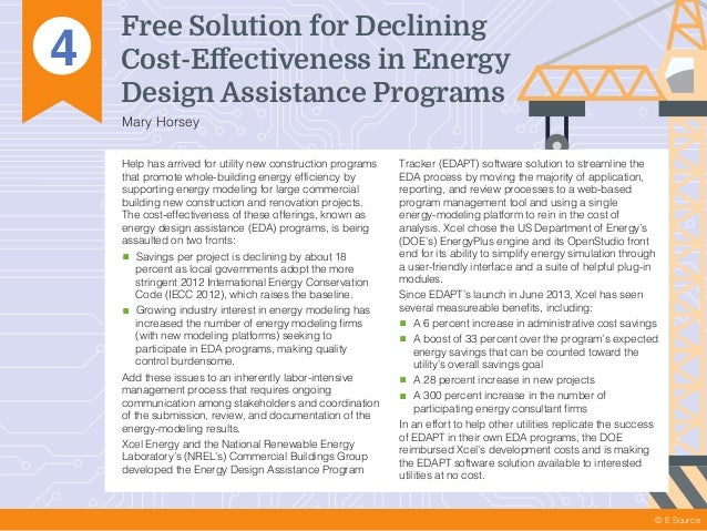 4 Free Solution for Declining Cost-Effectiveness in Energy Design Assistance Programs Mary Horsey © E Source Help has arriv...