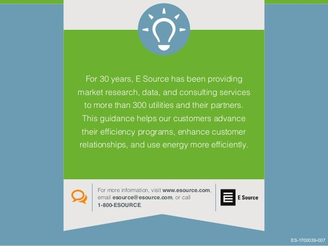 For 30 years, E Source has been providing market research, data, and consulting services to more than 300 utilities and th...