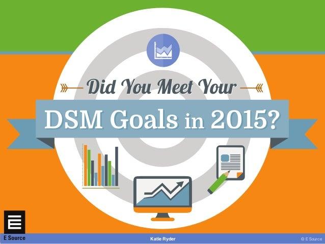 © E SourceKatie Ryder DSM Goals in 2015?DSM Goals in 2015? Did You Meet YourDid You Meet Your