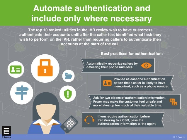 © E Sourcewww.esource.com Automate authentication and include only where necessary © E Source The top 10 ranked utilities ...