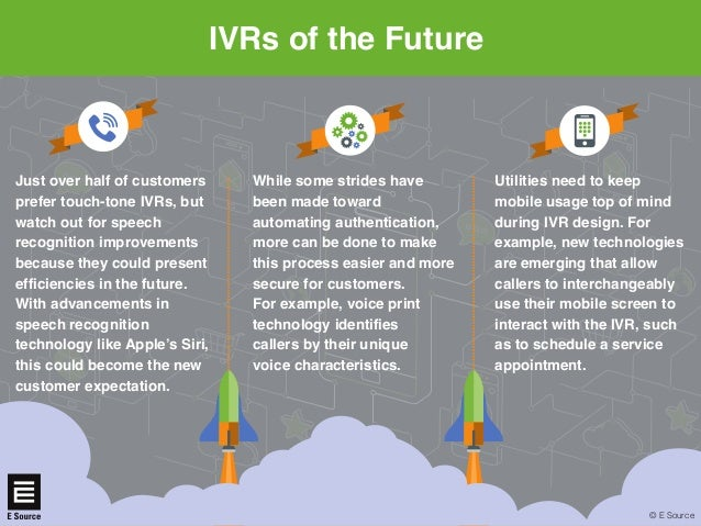 IVRs of the Future © E Source Utilities need to keep mobile usage top of mind during IVR design. For example, new technolo...