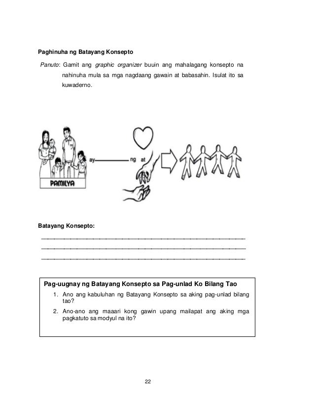 22 Paghinuha ng Batayang Konsepto Panuto: Gamit ang graphic organizer buuin ang mahalagang konsepto na nahinuha mula sa mg...