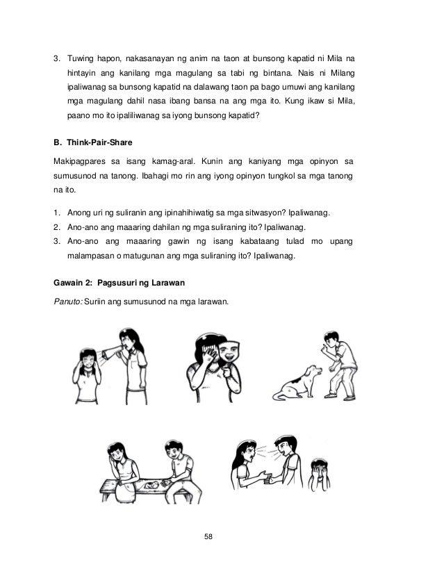 58 3. Tuwing hapon, nakasanayan ng anim na taon at bunsong kapatid ni Mila na hintayin ang kanilang mga magulang sa tabi n...