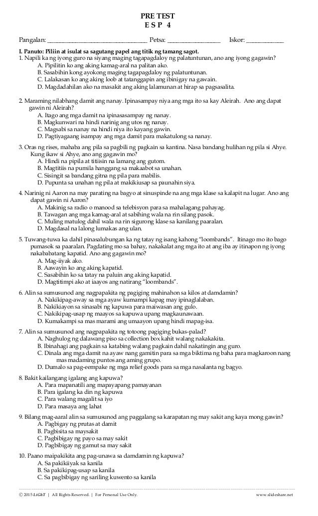 K TO 12 GRADE 4 DIAGNOSTIC / PRE TEST IN EDUKASYON sa ...