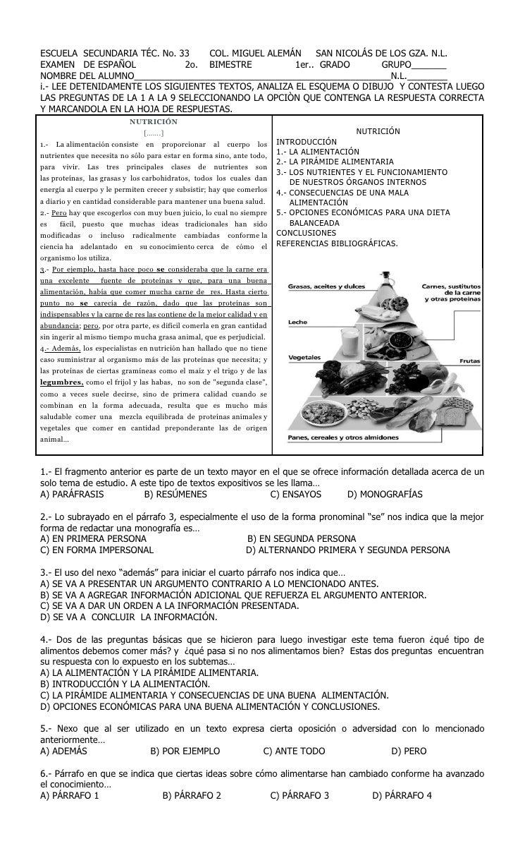 ESCUELA SECUNDARIA TÉC. No. 33     COL. MIGUEL ALEMÁN     SAN NICOLÁS DE LOS GZA. N.L.EXAMEN DE ESPAÑOL             2o. BI...