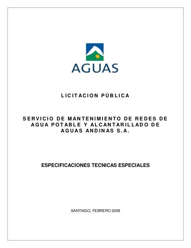 LICITACION PÚBLICASERVICIO DE MANTENIMIENTO DE REDES DE  AGUA POTABLE Y ALCANTARILLADO DE          AGUAS ANDINAS S.A.    E...