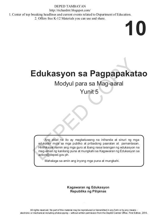 D EPED C O PY 1 Edukasyon sa Pagpapakatao Modyul para sa Mag-aaral Yunit Ang aklat na ito ay magkatuwang na inihanda at si...