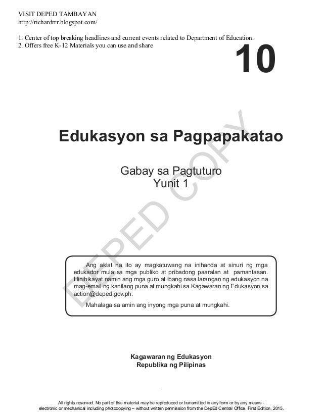 D EPED C O PY i Edukasyon sa Pagpapakatao Ang aklat na ito ay magkatuwang na inihanda at sinuri ng mga edukador mula sa mg...