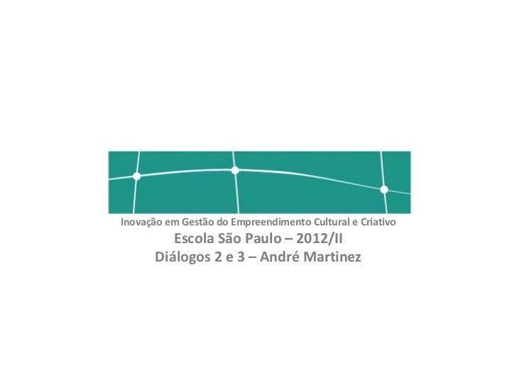 Inovação em Gestão do Empreendimento Cultural e Criativo          Escola São Paulo – 2012/II       Diálogos 2 e 3 – André ...