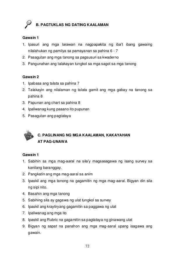 Pagtuklas ng dating kaalaman grade 9 answer key