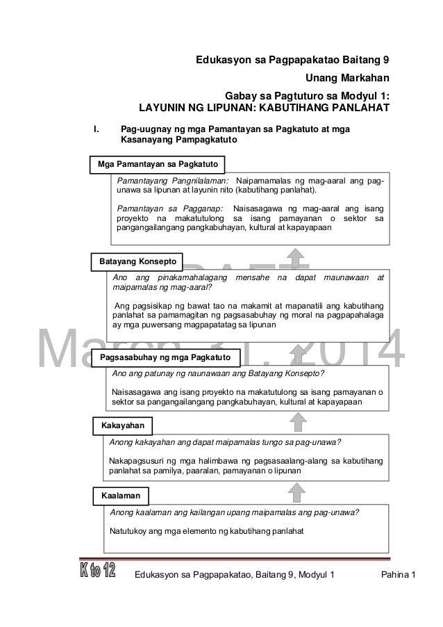 DRAFT March 31, 2014 Edukasyon sa Pagpapakatao, Baitang 9, Modyul 1 Pahina 1 Edukasyon sa Pagpapakatao Baitang 9 Unang Mar...