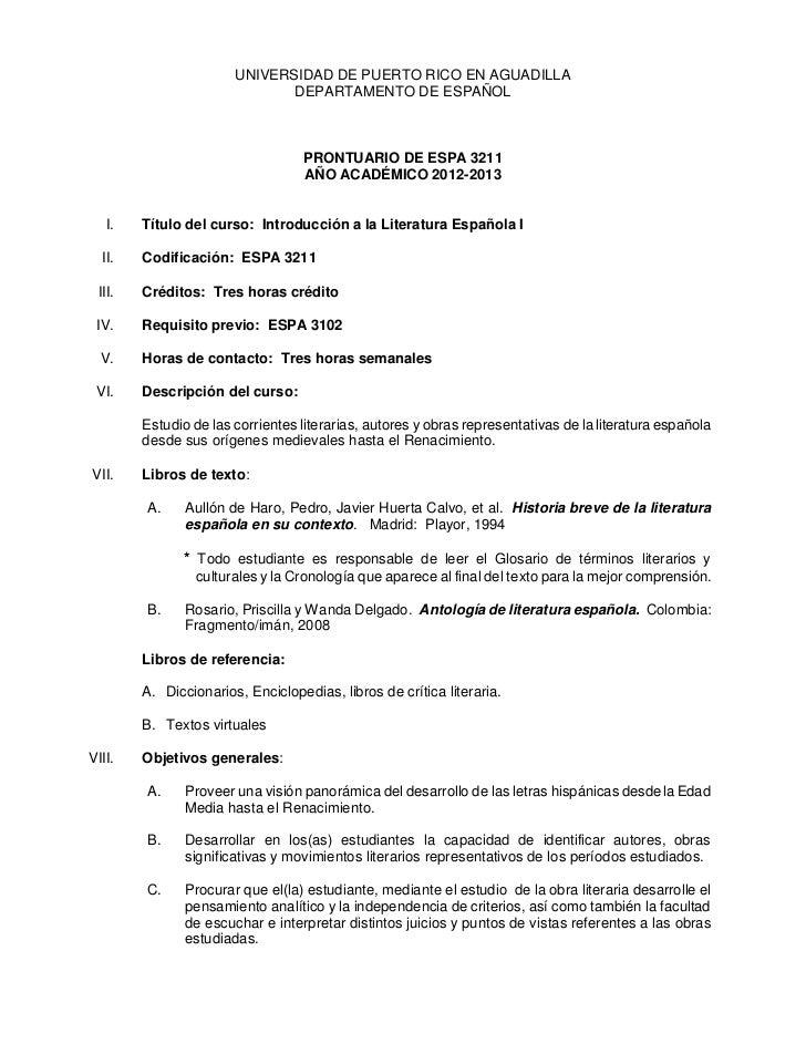 UNIVERSIDAD DE PUERTO RICO EN AGUADILLA                              DEPARTAMENTO DE ESPAÑOL                              ...
