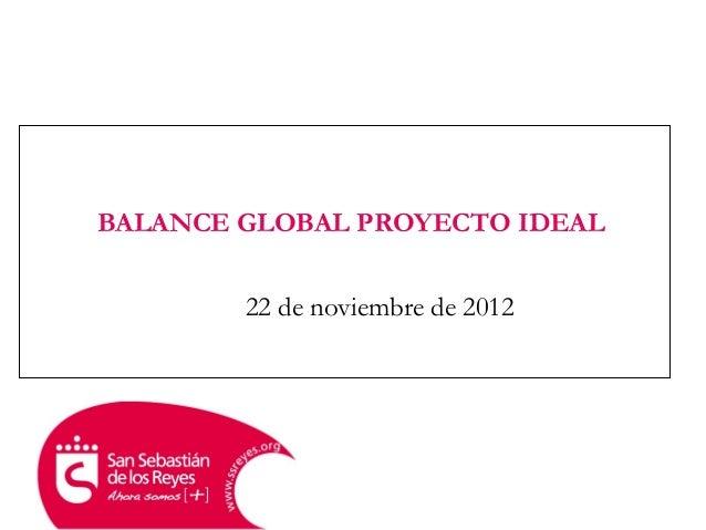 BALANCE GLOBAL PROYECTO IDEAL22 de noviembre de 2012