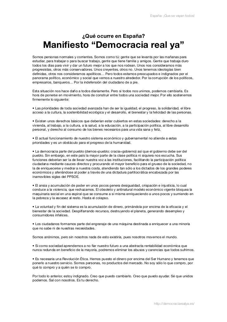 """España: ¡Que se vayan todos!                                   ¿Qué ocurre en España?       Manifiesto """"Democracia real ya""""..."""