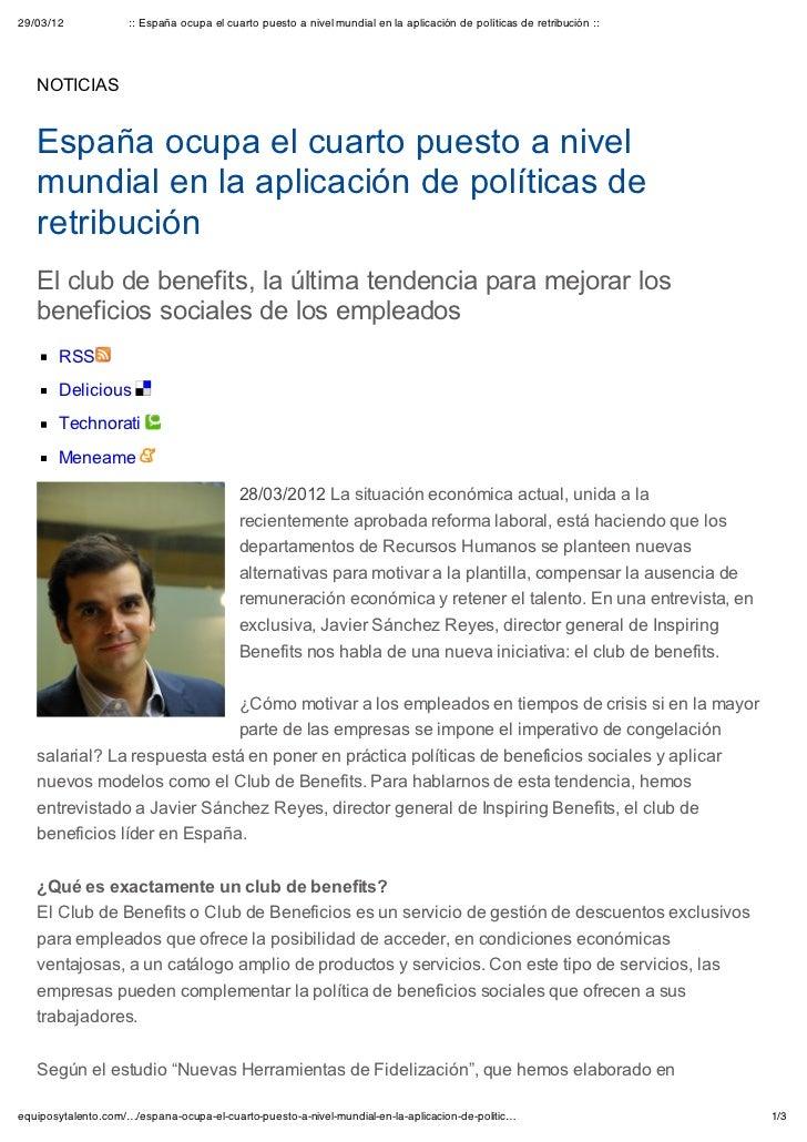 29/03/12             :: España ocupa el cuarto puesto a nivel mundial en la aplicación de políticas de retribución ::   NO...