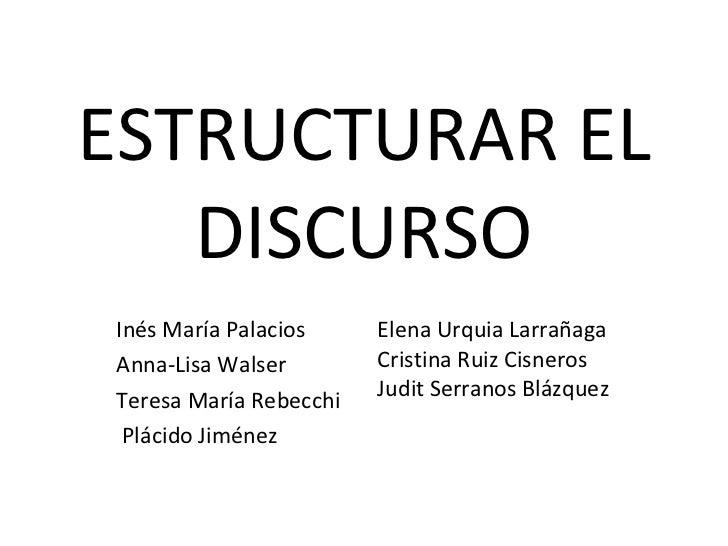 ESTRUCTURAR EL DISCURSO Inés María Palacios Anna-Lisa Walser Teresa María Rebecchi Plácido Jiménez Elena Urquia Larrañaga ...