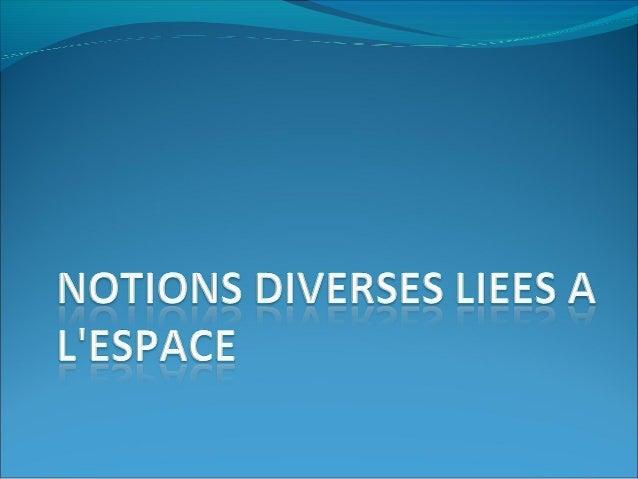  1-Définition de l'espace  L'espace comme:  support de vie sociale  domaine géométrique et géographique  volume à uti...