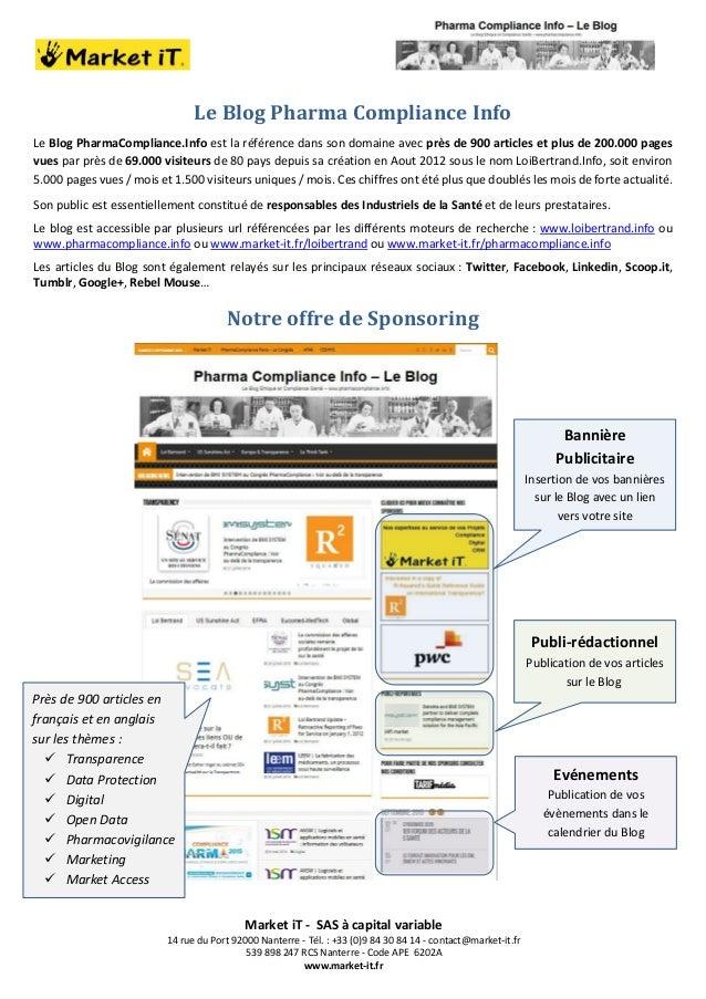 Market iT - SAS à capital variable 14 rue du Port 92000 Nanterre - Tél. : +33 (0)9 84 30 84 14 - contact@market-it.fr 539 ...