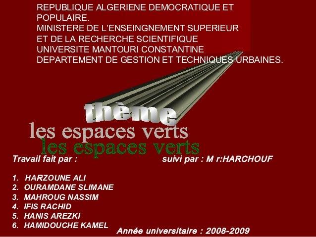 REPUBLIQUE ALGERIENE DEMOCRATIQUE ET POPULAIRE. MINISTERE DE L'ENSEINGNEMENT SUPERIEUR ET DE LA RECHERCHE SCIENTIFIQUE UNI...