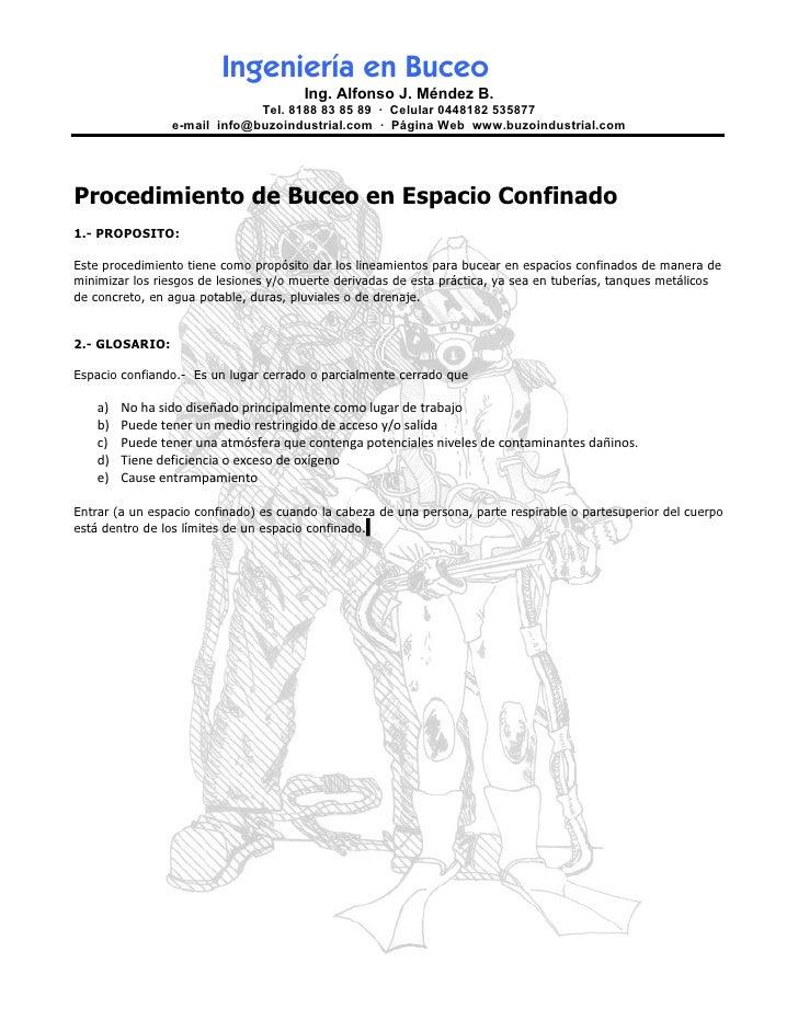 Ingeniería en Buceo                                       Ing. Alfonso J. Méndez B.                              Tel. 8188...