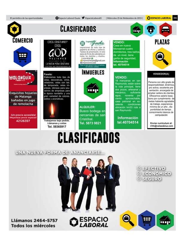 [11]El periódico de las oportunidades Espacio Laboral Guate EspacioLaboralG [ Miércoles 25 de Nobiembre de 2015 ] Clasific...