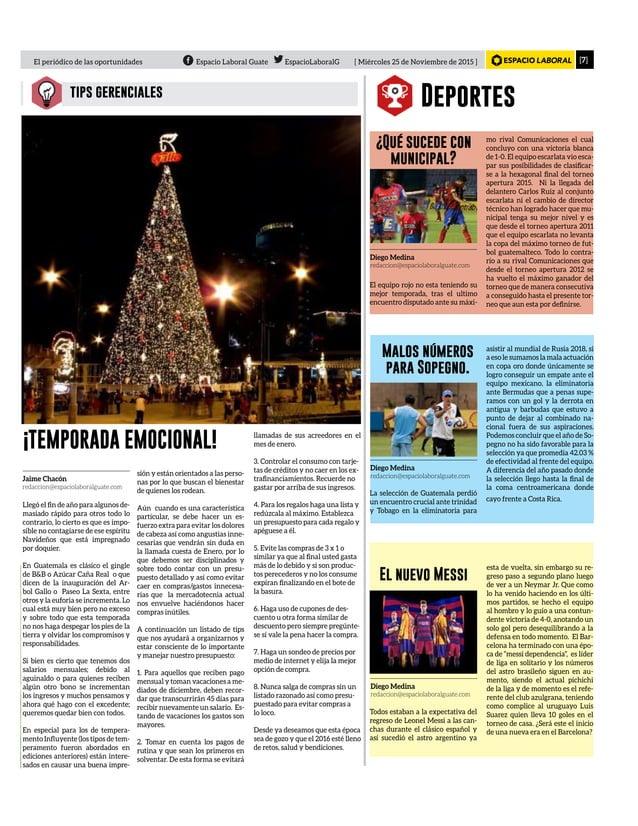 [7]El periódico de las oportunidades Espacio Laboral Guate EspacioLaboralG [ Miércoles 25 de Noviembre de 2015 ] tips gere...