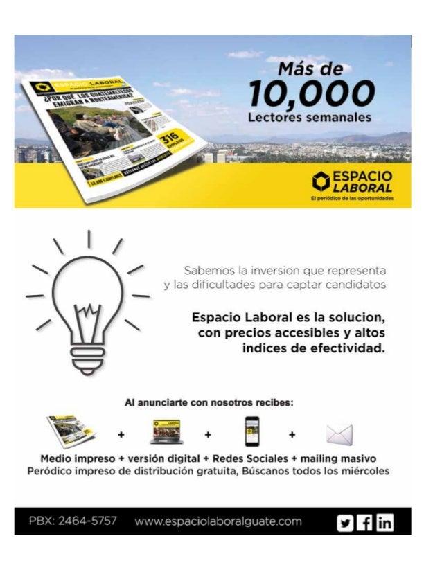 [3]El periódico de las oportunidades Espacio Laboral Guate EspacioLaboralG [ Miércoles 25 de Noviembre de 2015 ]