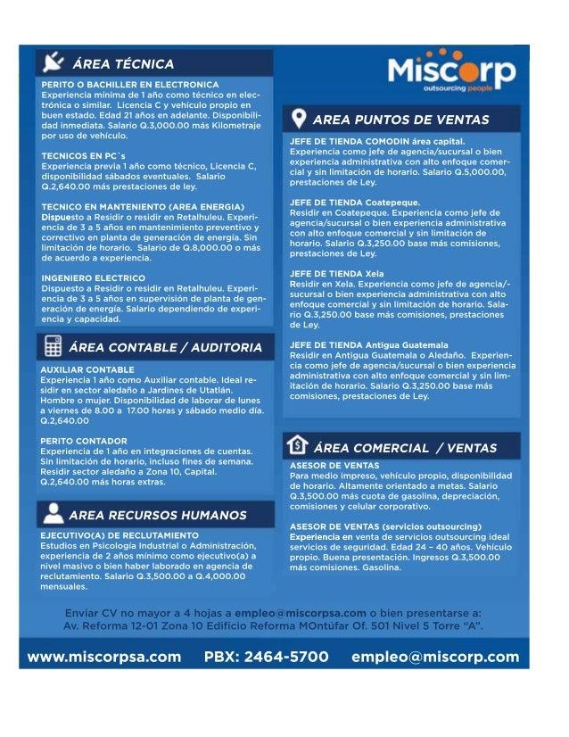 [9]El periódico de las oportunidades Espacio Laboral Guate EspacioLaboralG [ Miércoles 25 de Noviembre de 2015 ] www.misco...