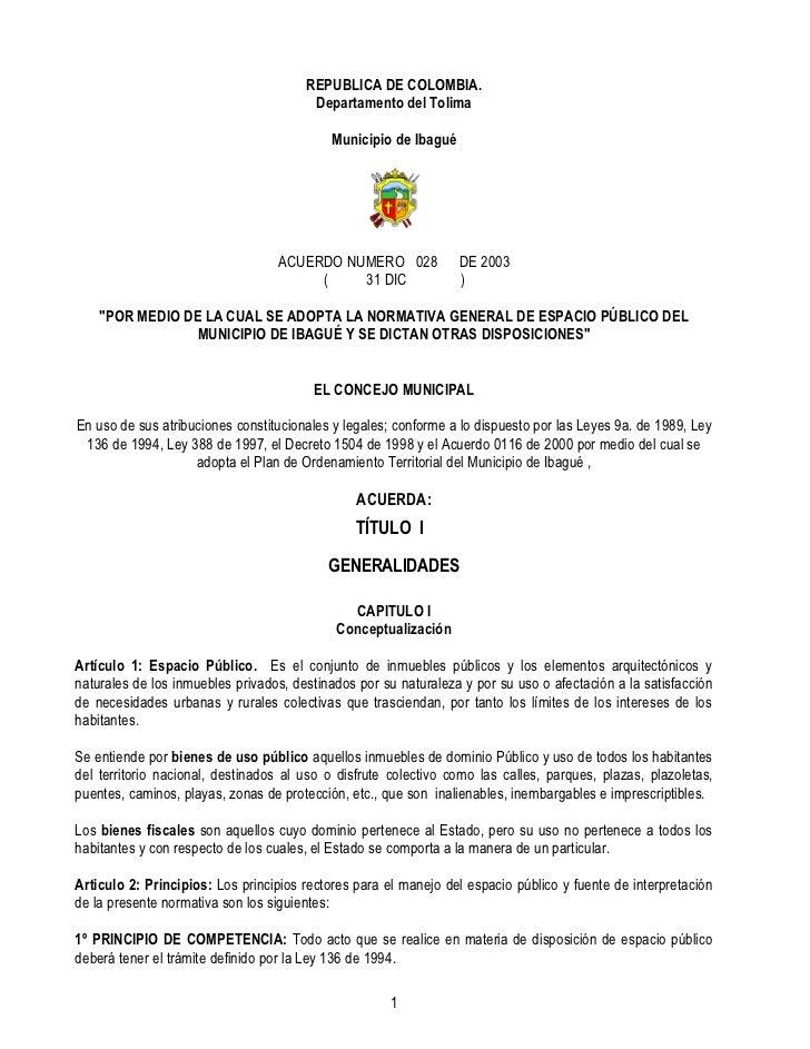 REPUBLICA DE COLOMBIA.                                        Departamento del Tolima                                     ...