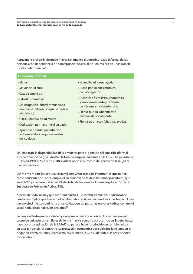 Antares Consulting S. A. © 2010 27 Actualmente, el perfil de quién mayoritariamente asume el cuidado informal de las perso...